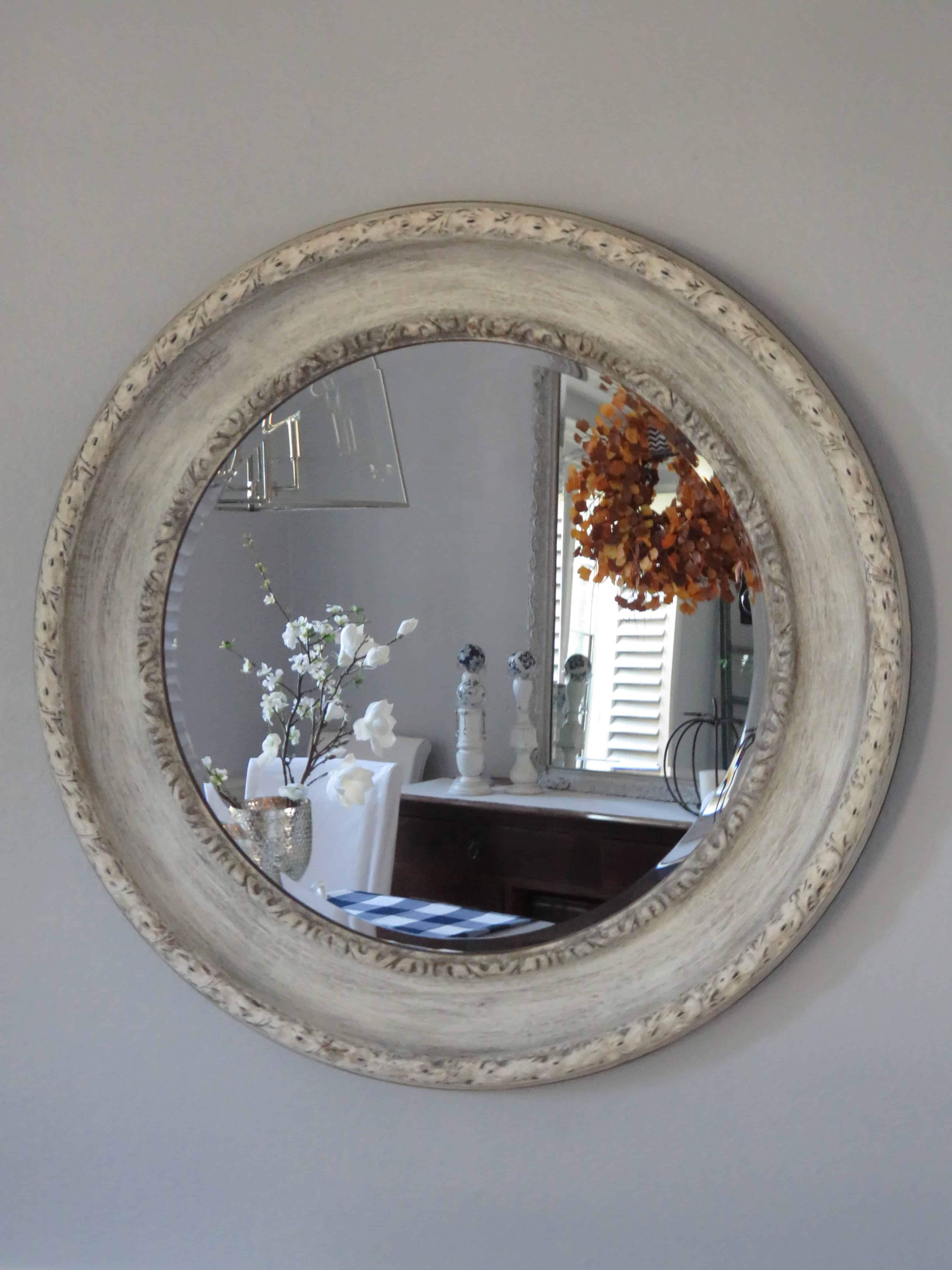 Distressed Hand Painted White Round Mirror Diy