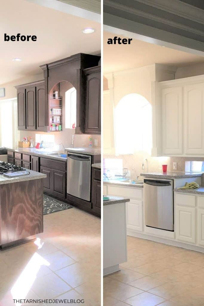 5 Tips-Painting Dark Kitchen Cabinets White (And the ...