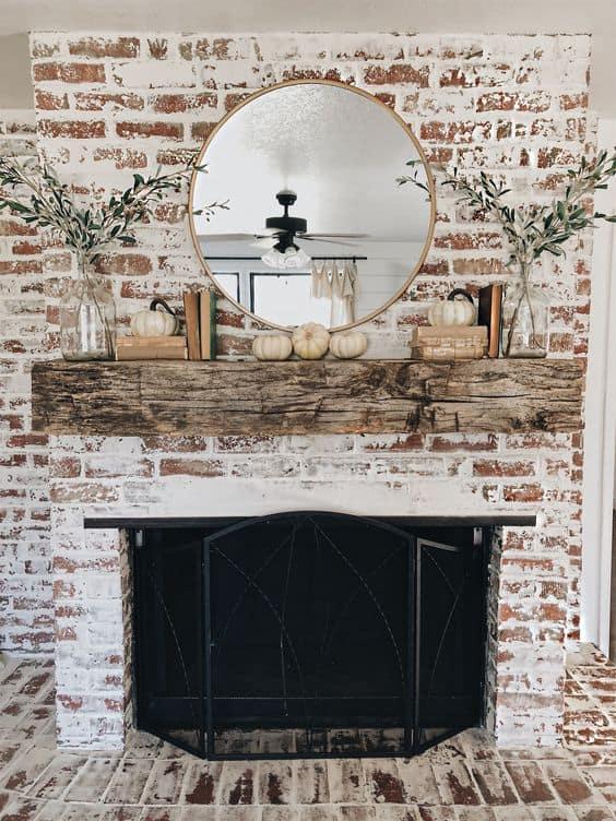 35 Gorgeous Natural Brick Fireplace, White Wash Brick Fireplace Images