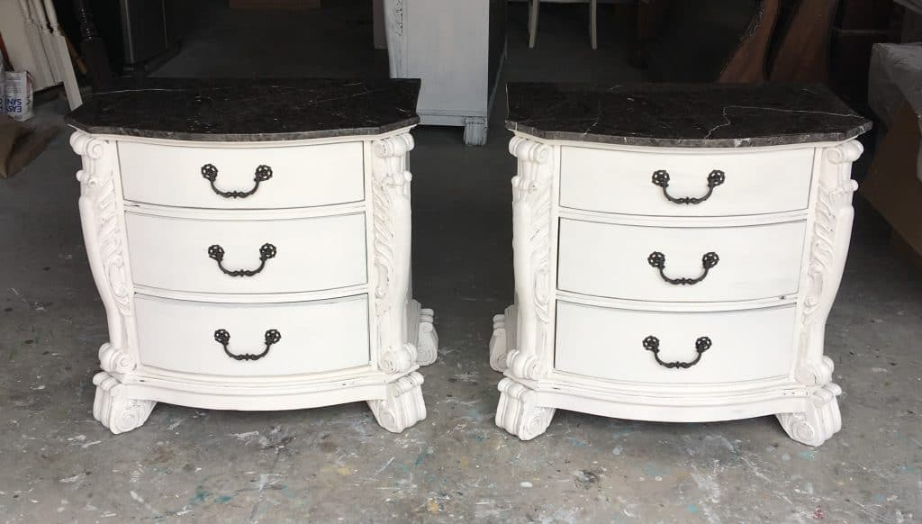 Need a DIY makeover? Try this tutorial: painted white with dark top in 10 steps.