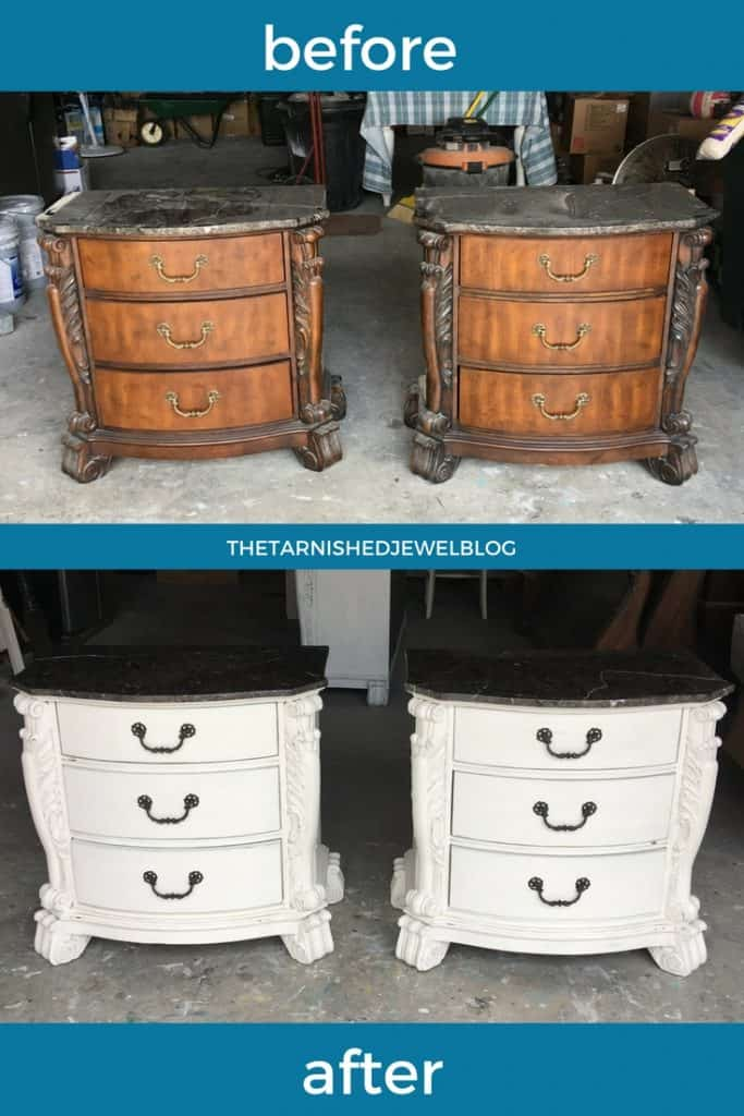 Need a DIY nightstand makeover? Try this tutorial: painted white with dark top in 10 steps.