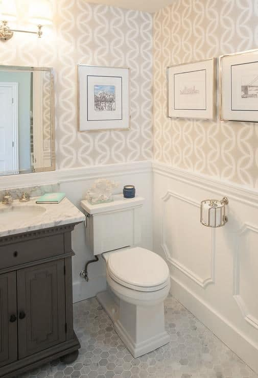 Want to give a custom look to your powder bath? Add wallpaper to the entire room or as an accent wall for a fresh update.