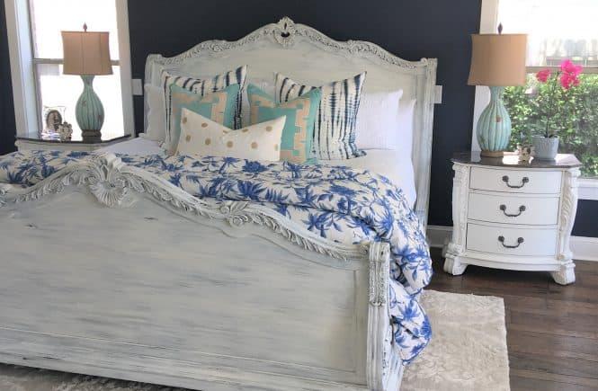 Master Bed Frame Makeover Painted White Thetarnishedjewelblog