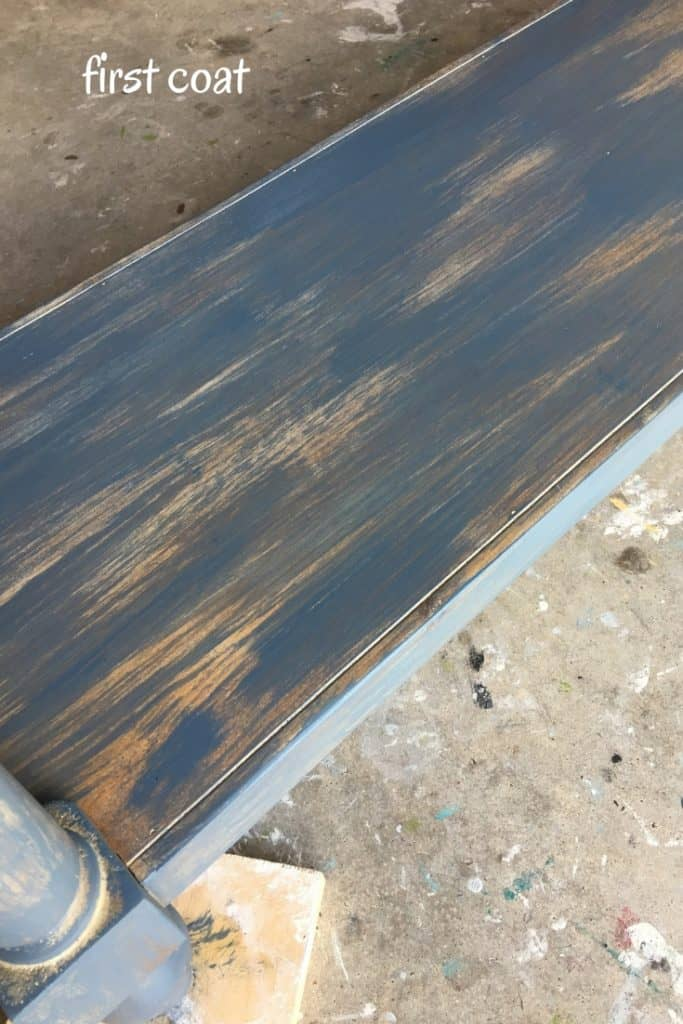 World Market Console Table Makeover Painted Smoky Blue