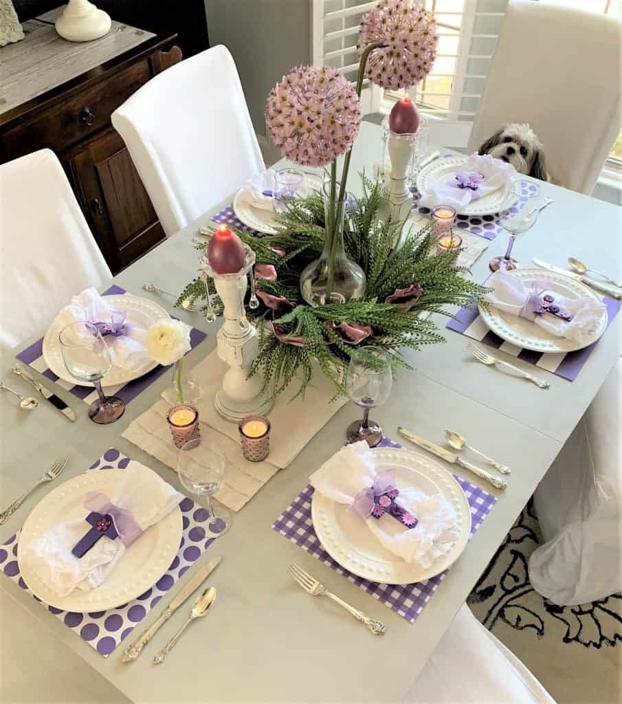 Setting a Purple Easter Table: Spring Decor
