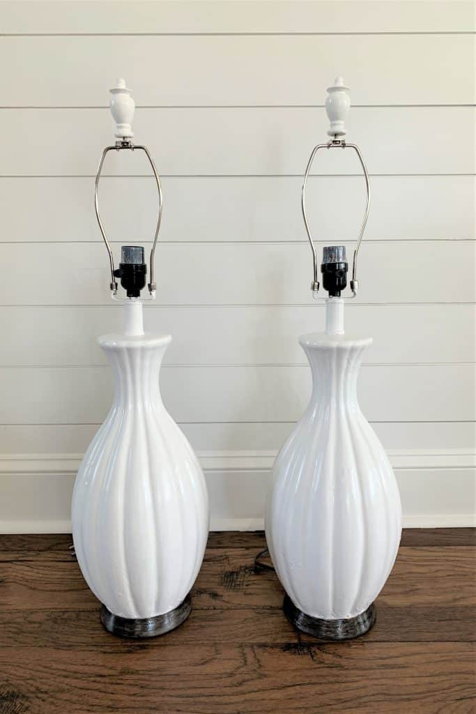 Diy Ceramic Lamp Makeover Painted White Thetarnishedjewelblog