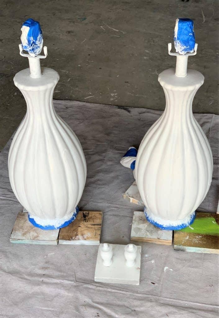 diy ceramic lamp makeover: painted white