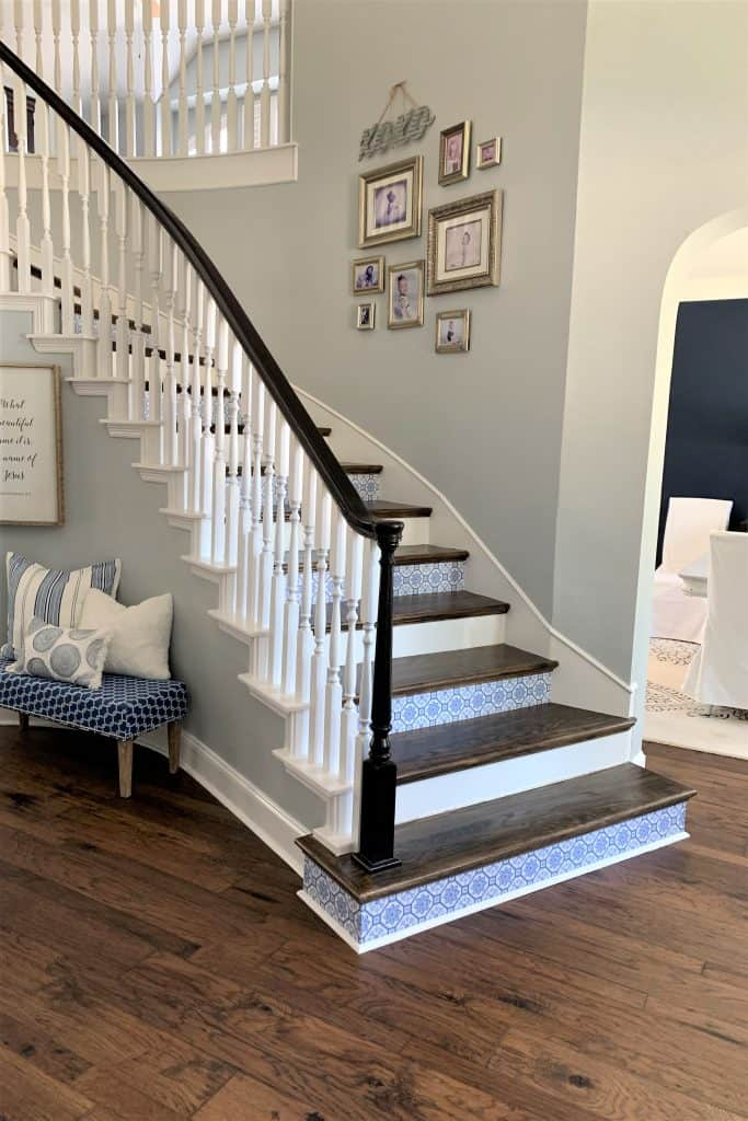 adding removable wallpaper to stair risers