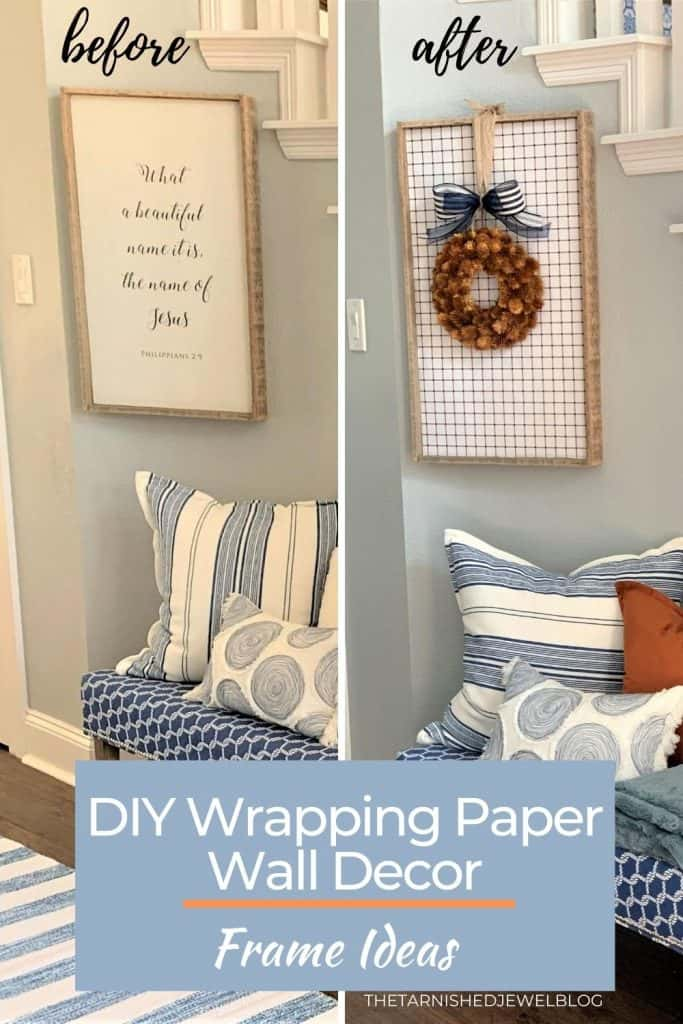 diy wrapping paper wall decor: frame ideas