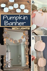 pumpkin banner with lights: fall decorating ideas