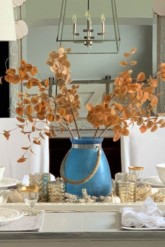 easy fall table centerpiece using candles & pumpkins