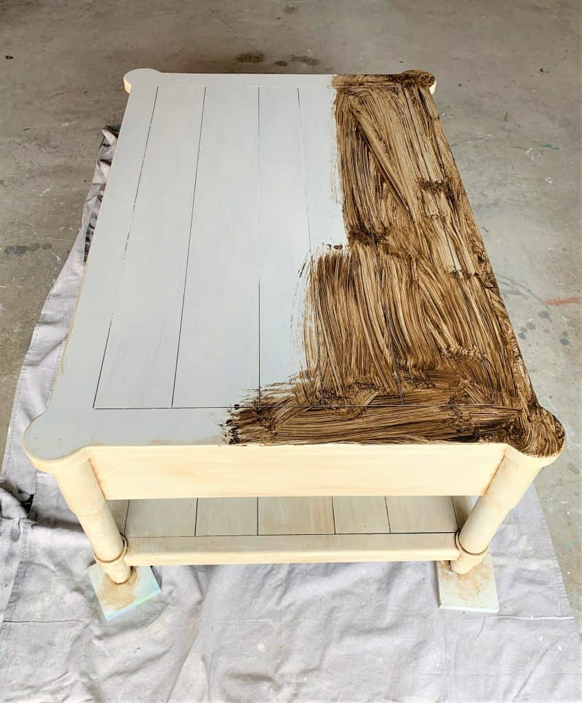 whitewash furniture diy: coffee table makeover