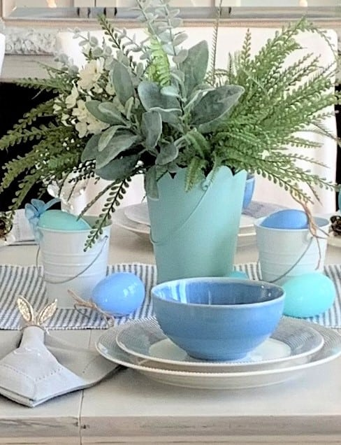 Shades of Blue & Easter Egg Table Setting