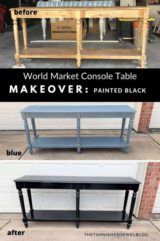 World Market Console Table Makeover: Painted Black