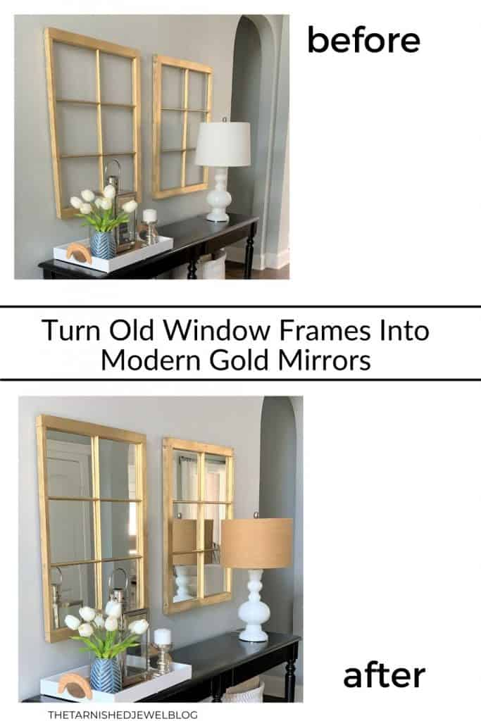 Turn Old Window Frames Into Modern Gold Mirrors