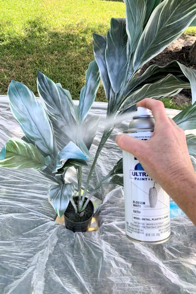 Spray Painting Fake Plants White: Front Porch Ideas